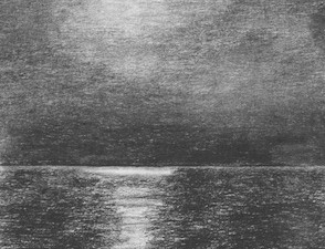 A travel sketch of the Amazon moon rising in Brazil.