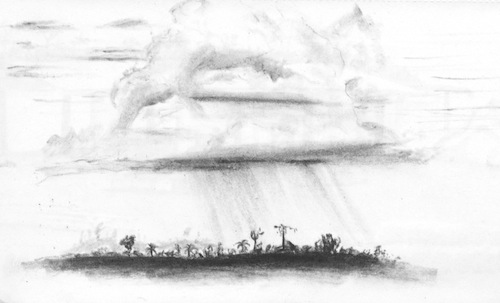 Travel sketch of an Amazon rain cloud in Brazil.