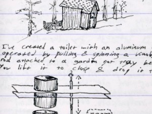 Drawing of an outhouse