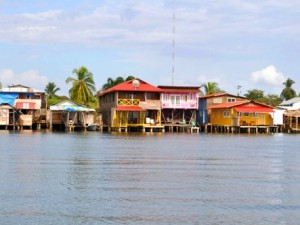 A view of the colorful building in Bocas del Toro town, Panama.