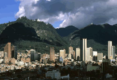 The skyline of Bogota, capital of Colombia.