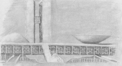 A travel sketch of the Brasilian congress building.