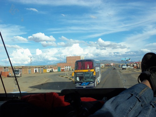 Taking a bus in Bolivia.