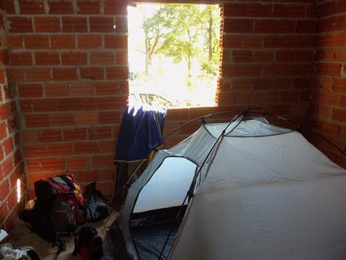 Squat camping in Puerto Iguazu, Argentina.