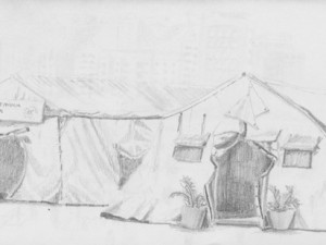 Drawing of Caracas Medical Tents