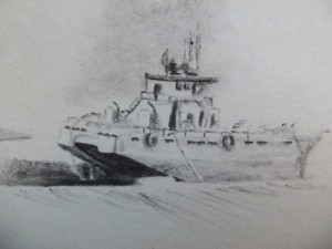 Travel drawing of a ferry on Chile's Carretera Austral
