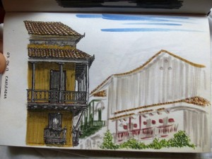 Travel sketch from Cartagena Colombia