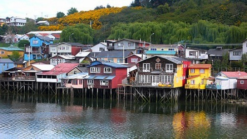 Homes on stilts in Castro, Chile.