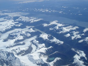 A view from the air of the northern glacier field in Chile's Patagonia.