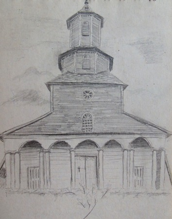 Chiloe Church drawing in Chile