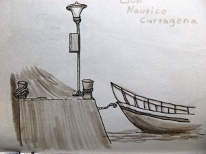Travel drawing Club Nautico, Cartagena, Colombia