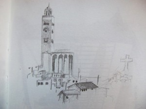 Sketching the huge mosque in Coquimbo, Chile.