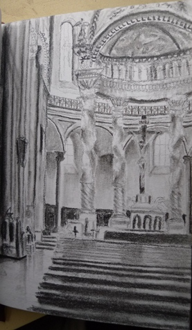 A travel drawing of the Cathedral in Cuenca, Ecuador