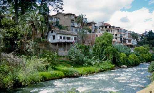 The main river flowing through the center of Cuenca, Ecuador.