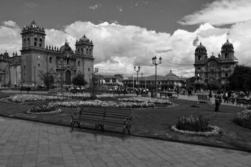 The central plaza of Cuzco, Peru.