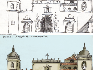 Before and after digital enhancement of a drawing of the Ayacucho Cathedral.