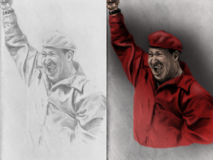 A digitally enhanced drawing of Hugo Chavez.