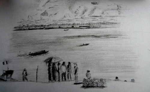A drawing of the Amazon River in Pucallpa, Peru.