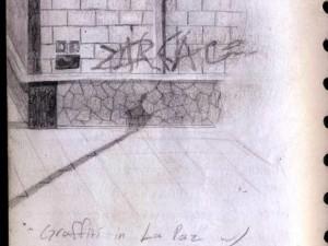 A drawing of graffiti in La Paz, Mexico.