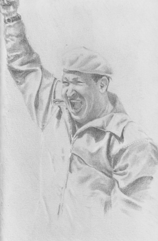 Drawing of Hugo Chavez