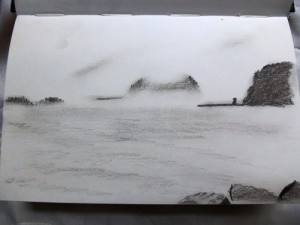 Drawing of the Oregon coast
