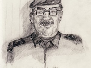 Drawing of Saddam Hussein