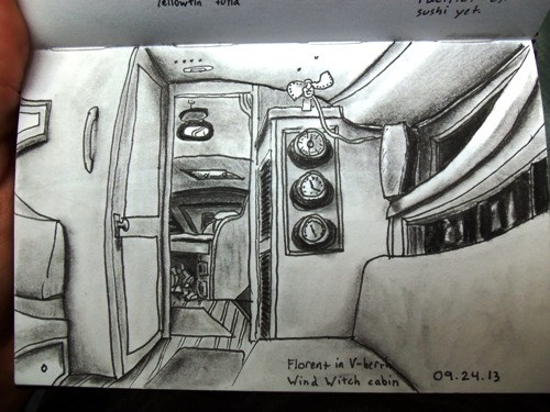 Travel drawing of a sailboat cabin