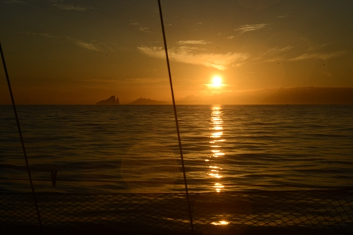A beautiful sunrise over the Galapagos island of San Cristobal.
