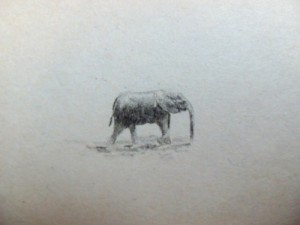 Hemmingway's Green Hills of Africa elephant sketch.
