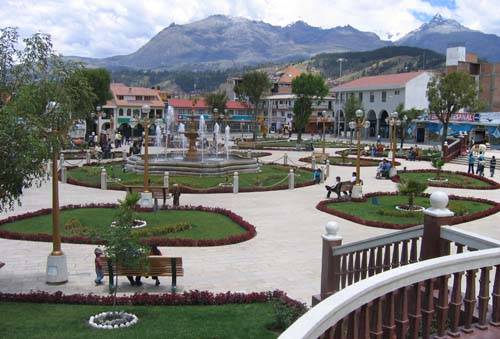 The plaza in Huaraz, Peru.
