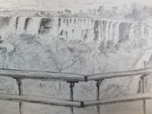 Travel sketch of iguazu falls.