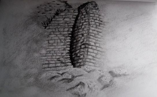 Drawing the ruins at Kuelap