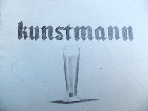 Kunstmann beer in southern Chile sketching