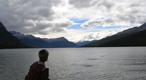 Skipping stones in Lapataia Park, Tierra del Fuego.