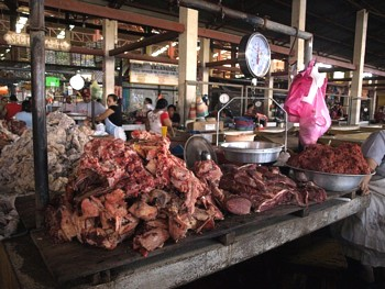 The meat section of the market in Leon.
