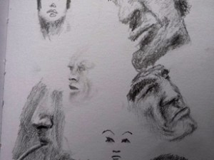 A sketch of some faces in Lima, Peru.
