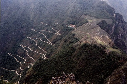 The switchback road up to the Machu Picchu Incan ruins.