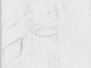 Travel sketch and drawing of man in Manaus