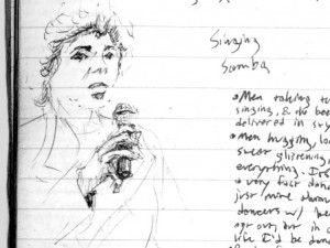 Travel drawing of woman in Manaus Brazil singing Samba.