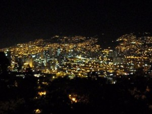 Medellin at night, an amber city.