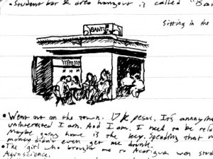 Bantu student bar travel drawing in Medellin