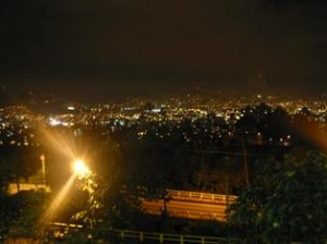 Medellin, Colombia in the nighttime.