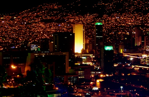 The view of amber skies of Medellin at night