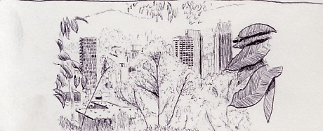 Travel drawing of downtown Medellin, Colombia