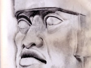 Drawing of a Giant Olmec Head