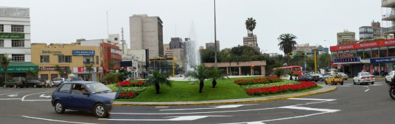Then main roundabout at Parque Kennedy in Miraflores, Lima.
