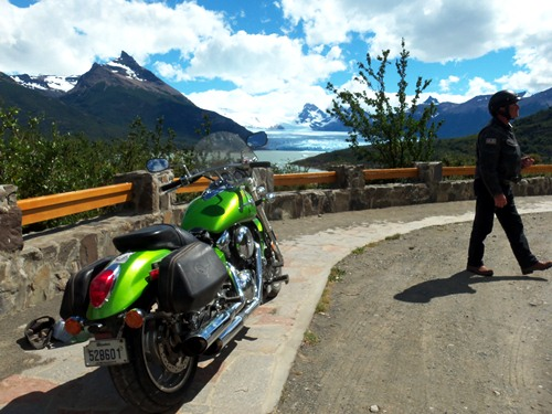 The Quebecois motorcycle at Perito Moreno in Argentina's Patagonia.