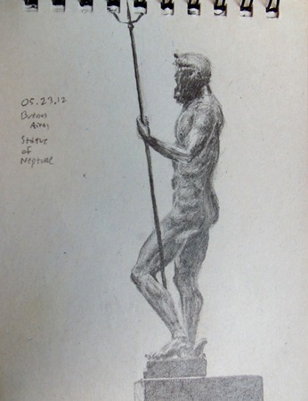 Statue of Neptune travel sketch from Argentina