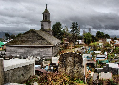Chiloe is known for its peculiar churches. Here is the one at Nercon.