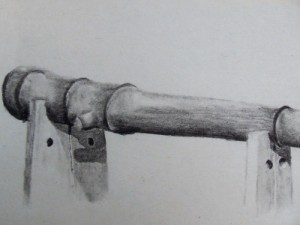 Travel sketch of a cannon in Niebla, Chile